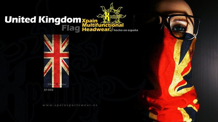 純正西班牙製造西班牙Xpain多功能頭巾 魔術頭巾 英國國旗 大英帝國國旗 米字旗 復古洗舊亦有其他國家國旗多功能頭巾