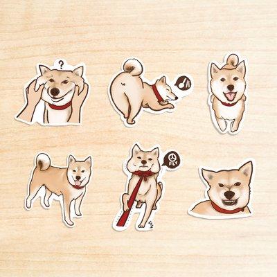 ▶▶貼紙組合包◀◀ 《柴犬1+2+3》 /PVC 白底防水貼紙包 每組(6入)  / 蒼蠅星球 / 手創市集