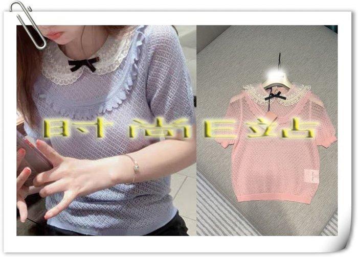 高端版【~SSEZ~】9170915184 原版刺繡串珠歐根紗領短袖針織衫  S M L
