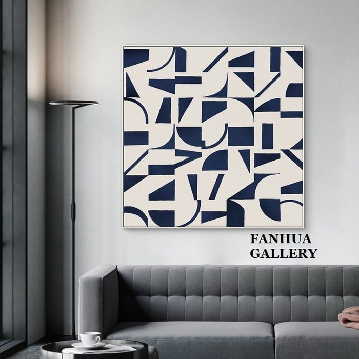 C - R - A - Z - Y - T - O - W - N 後現代幾何抽象藍色藝術裝飾畫當代藝術巨幅梯口玄關掛畫