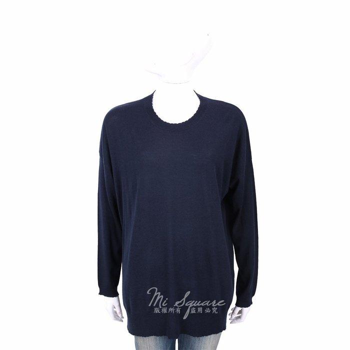 米蘭廣場 ALLUDE 100%羊毛深藍色不修邊圓領長袖針織衫 1740216-34