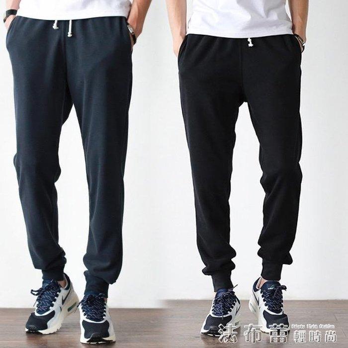 運動褲夏季純棉長褲超薄款束腳收口衛褲寬鬆休閒青年小腳褲透氣