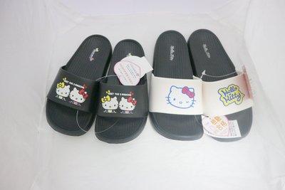 鞋之誠~Hello Kitty凱蒂貓 Q軟超輕量防水拖鞋( 白17~23)( 黑18~22)-台灣製造17-23號