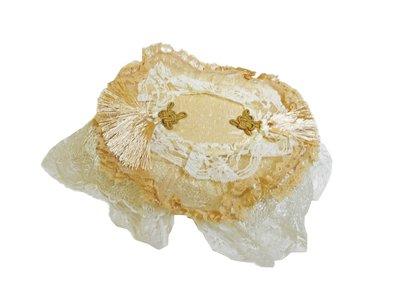 特價 蕾絲收納!!中國結 淡黃色 蕾絲 衛生紙套 小花 蝴蝶結 緞帶 收納 V-007