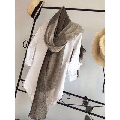 Loro Piana 100%cashmere咖啡色格子圍巾披肩~zara H&M Kookai MaxMara 台北市