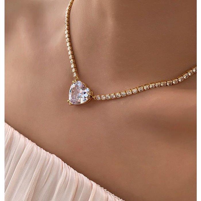 PapaDarling 20SS 時尚氣質優雅輕奢滿鑽愛心大寶石設計感 項鍊 鎖骨鍊