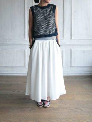 美國設計師精品名媛率性口袋MIX拼色白色圓裙kiito同款APT.3R沐朵glimmer小闆娘現貨