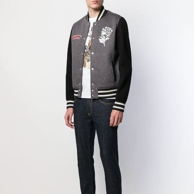 Alexander McQueen floral skull embroidered bomber jacket 花卉骷髏刺繡飛行員夾克 限時超低折扣代購中