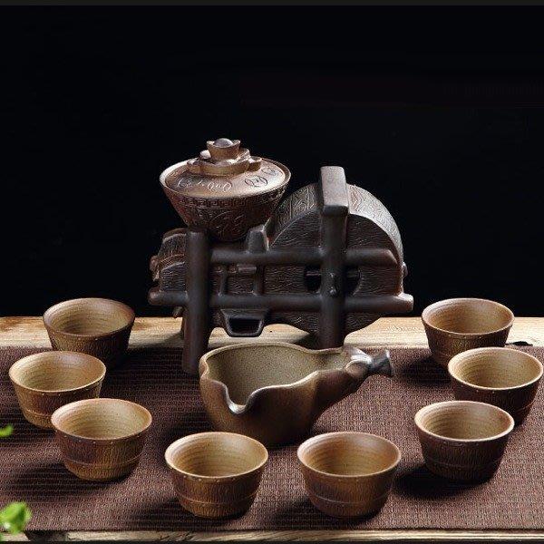 5Cgo【茗道】含稅537508914290 時來運轉石磨復古半自動茶具套裝懶人防燙功夫泡茶器茶壺茶海杯柴燒黃金滿倉元寶