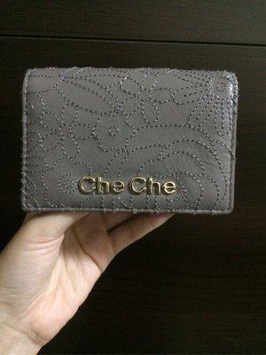 全新 Che Che卡片夾 皮夾 灰色繡花