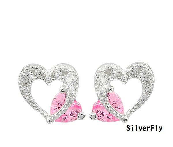 針式 純銀耳環-滿鑽甜心《 SilverFly銀火蟲銀飾 》