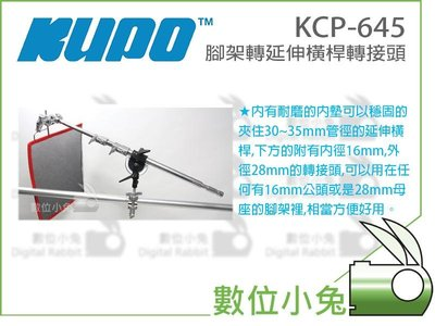 數位小兔【KUPO KCP-645 腳架轉延伸橫桿轉接頭】橫桿架 延伸桿 腳架 燈架 PIVOTING BOOM ARM
