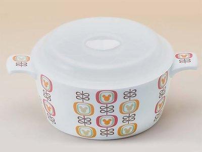 ~FUJIJO~現貨~日本迪士尼限定【Mickey米奇】普普風雙把瓷器附蓋密封食物保鮮鍋/保鮮盒
