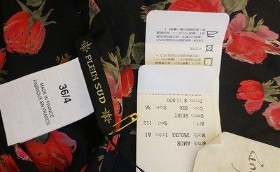 全新原價一萬多 PLEIN SUD 100%SILK 純絲黑底玫瑰印花圓裙 另有圖五