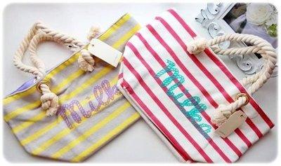 [Rosechild]日本購回 日本品牌[confiture] 休閒輕便綿料 粗繩設計提柄小手提包/便當袋/包包