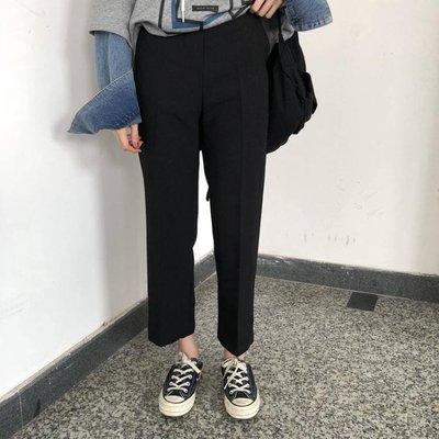 顯瘦腿型寬鬆 高腰休閒直筒褲 九分褲西裝褲 大尺碼女褲