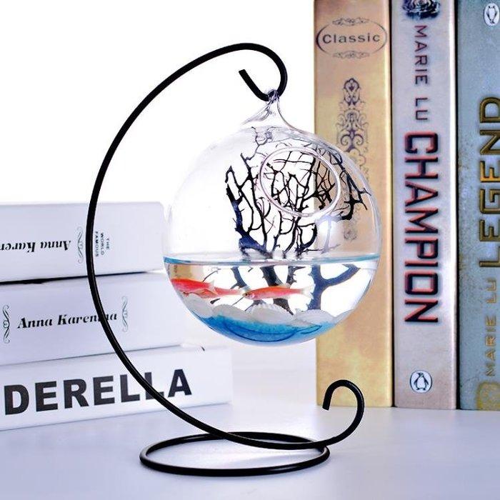 壁掛簡約迷你桌面小魚缸 透明玻璃圓形創意家居辦公桌客廳斗魚缸
