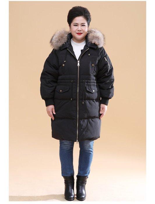5E342 黑色中長款連帽寬鬆加厚羽絨服XL-5XL秋冬婆婆裝媽媽裝風衣女裝外套大尺碼大碼超大尺碼