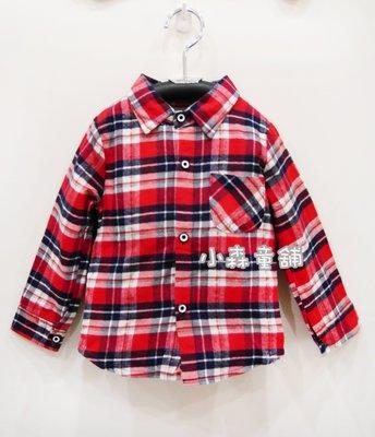 小森童舖   男童 紅色系格子雙拼背後黑色系車車 長袖襯衫小外套 7號 零碼