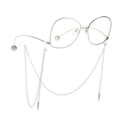 掛鍊 眼鏡鍊 眼鏡繩 銀色鉚釘帶水鉆簡約極簡朋克風中性男款女眼鏡鏈條墨鏡鏈子裝飾