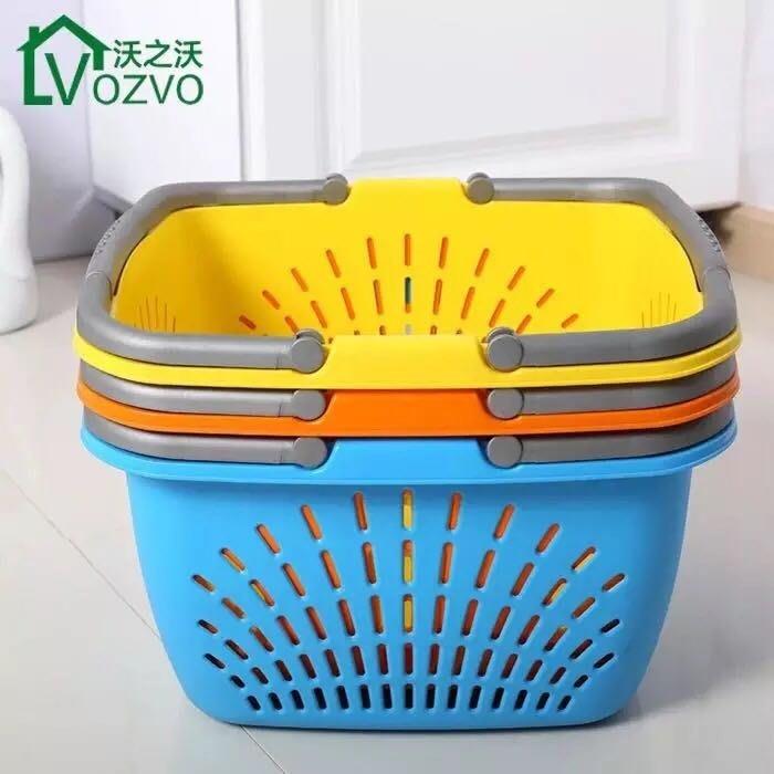 加厚超市購物籃子塑料裝衣籃買菜籃水果籃超零食籃