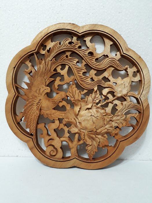 【九龍藝品】香樟木 ~ 原木雕刻 1隻金雞.大荷花 14(1)