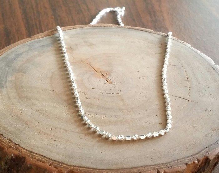 國際標準925純銀串珠材料~正純銀方塊 圓珠項鍊。水晶森林手創館925純銀材料批發賣場