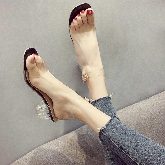 小尤家~涼鞋女夏季新款韓版水晶粗跟高跟鞋透明一字扣帶chic仙女鞋潮