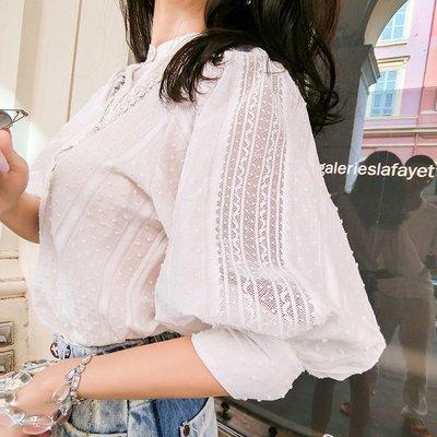 《巴黎拜金女》白色襯衫女寬鬆燈籠袖百搭娃娃衫心機上衣設計感