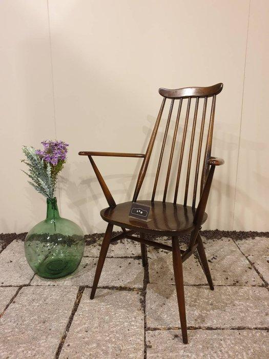 【卡卡頌 歐洲跳蚤市場/歐洲古董】英國真老件   簡雅線條 高背實木溫莎扶手椅    ch0363