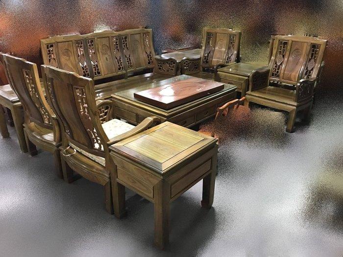 宏品二手家具 家電 台中全新中古仿古家具傢俱 高級LG1109*紫檀木10件式組椅*木頭椅 木板椅 泡茶桌椅 古董家具