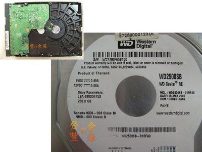 【登豐e倉庫】 F764 WD2500SB-01RFA0 250G IDE 維修硬碟 當機換板 救資料