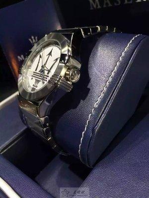 請支持正貨,瑪莎拉蒂手錶MASERATI手錶POTENZA款,編號:R8853108002,銀白色錶面銀色精鋼錶鍊錶帶款