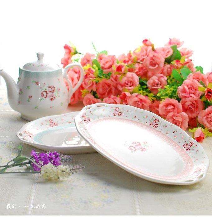 粉紅玫瑰精品屋~10寸蕾絲玫瑰浮雕骨瓷餐盤甜心蛋糕水果盤~