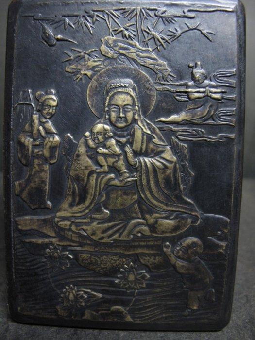 老銅雕◎ 送子觀音 浮雕 銅盒  墨盒