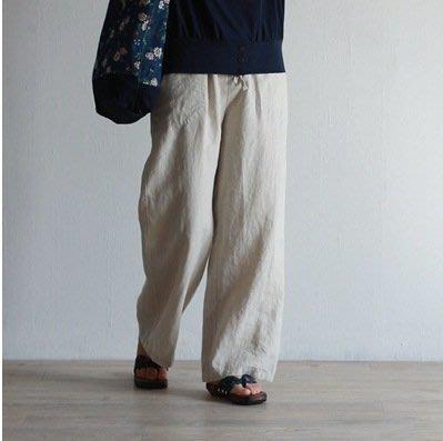 (老銀屋)春夏季亞麻舒適透氣鬆緊腰休閒直筒褲