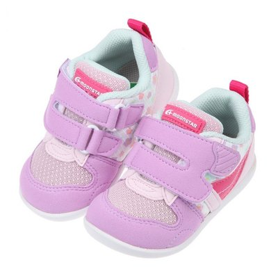 童鞋(12.5~15公分)Moonstar日本Hi系列粉花色寶寶機能運動鞋I1QS62F