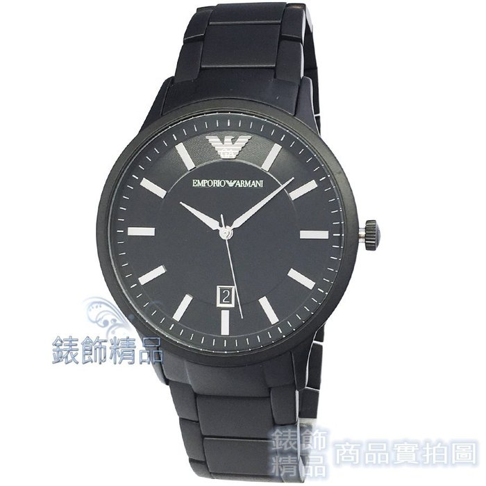 【錶飾精品】ARMANI 手錶 AR11079 亞曼尼表 IP消光黑日期鋼帶 男錶