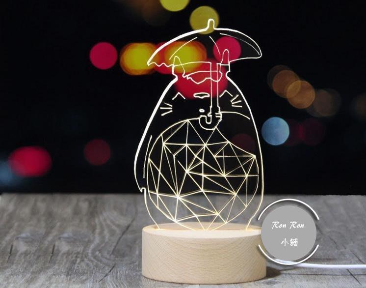 宮崎駿 龍貓小夜燈 實木LED燈 宜家簡約動物檯燈 動漫創意 生日禮物