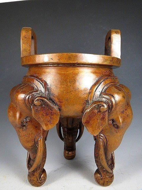 【 金王記拍寶網 】T2233 宣德年製款 雙耳三足象紋銅爐 精品銅爐 罕見稀少~