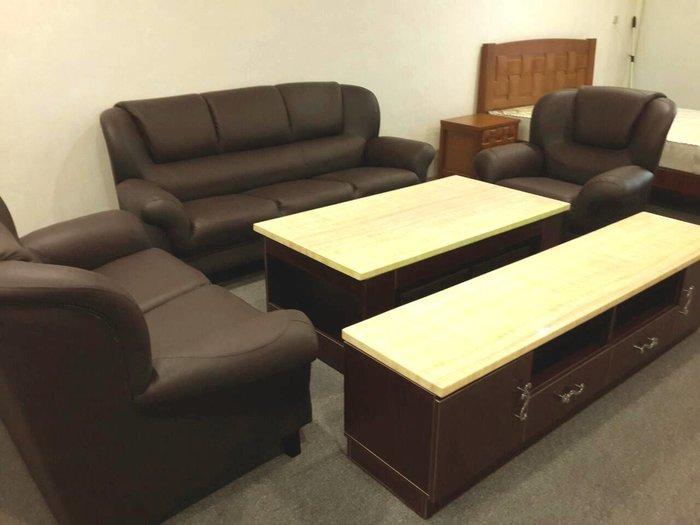 &凱迪家具&1018-630-123深咖啡色1+2+3半牛皮沙發~超低價/可拆賣