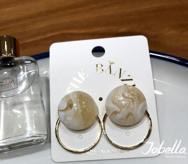 ✽JoBella 韓國空運 韓國代購 韓貨✽ 圓型暈染針式耳環 現貨+預購