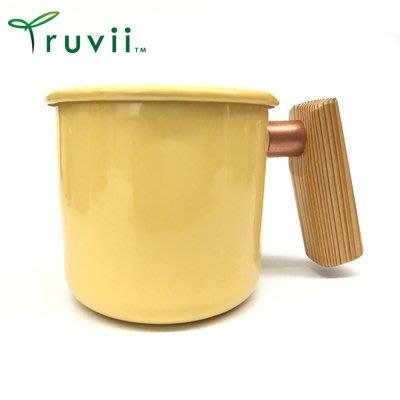 丹大戶外【Truvii】木柄琺瑯杯 400ml-特製木柄 台灣檜木款