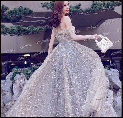 哆啦本鋪 新款天使嫁衣 星空裙 明星同款銀色生日晚宴年會伴娘演出婚紗禮服D655