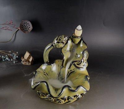 陶瓷  蓮花池「倒流香  擺件」   禪意擺件  倒流煙效漂亮  附塔香一盒 二款  B009