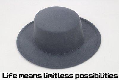 灰色平頂可調寬沿紳士帽 硬頂 Wide brim hat 歐美 百搭 古著 復古 毛呢  寬沿 大帽簷 【LtLf】