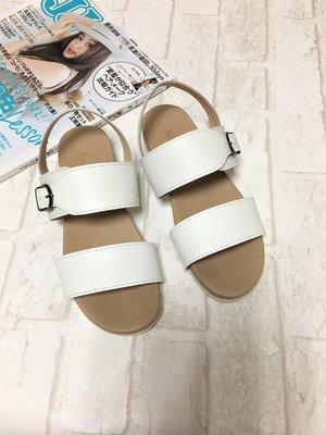 現貨出清~台灣手工製 全真牛皮涼鞋–白色 30518   米蘭風情