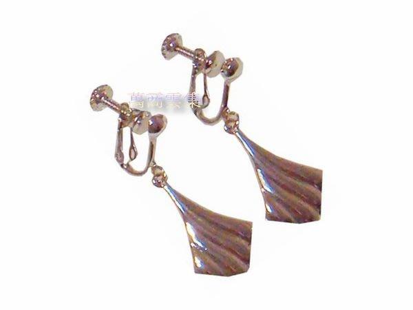 [萬商雲集] 全新品12K白金 扇子耳環 玲瓏小巧精緻造型 夾式耳環~無耳洞最佳首選~優惠中