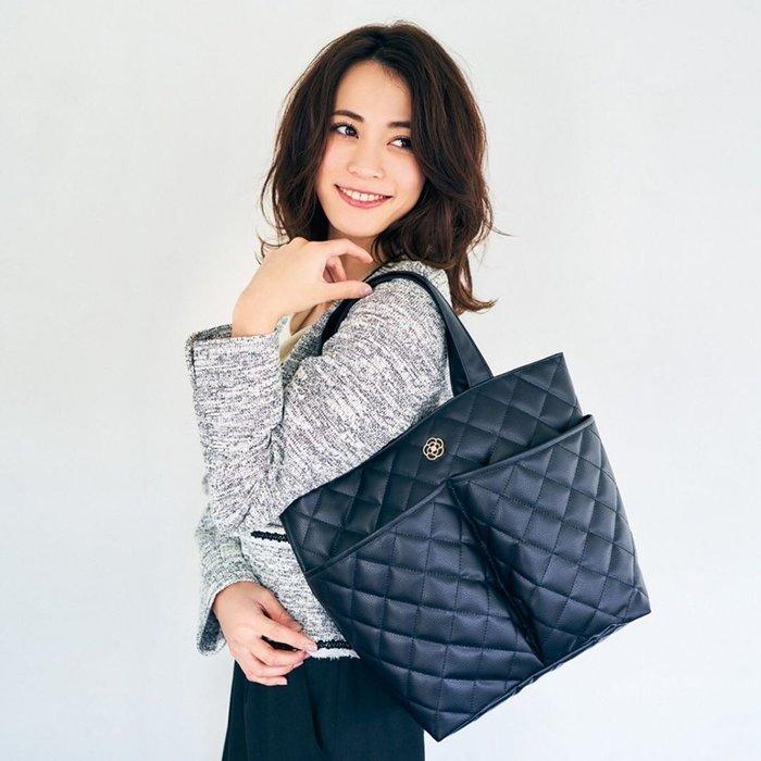 ☆Juicy☆日本雜誌附贈附錄 CLATHAS 山茶花 黑色 菱格紋 托特包 手提袋 大方包 通勤包 手提包 2292