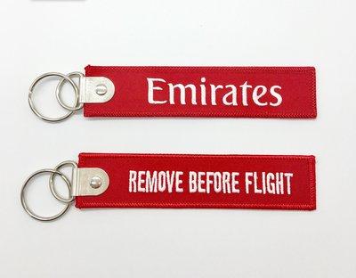 阿聯酋航空 Emirates LOGO 紅底白字 經典 刺繡飛行前拆除 鑰匙圈Remove Before Flight